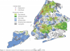 Geography of credit unions with different type of common bond (community) in New York City